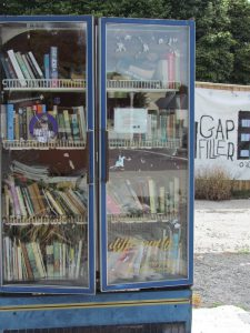 Gap Filler book exchange in vacant lot using an old commercial fridge (Source: Jolie Wills)