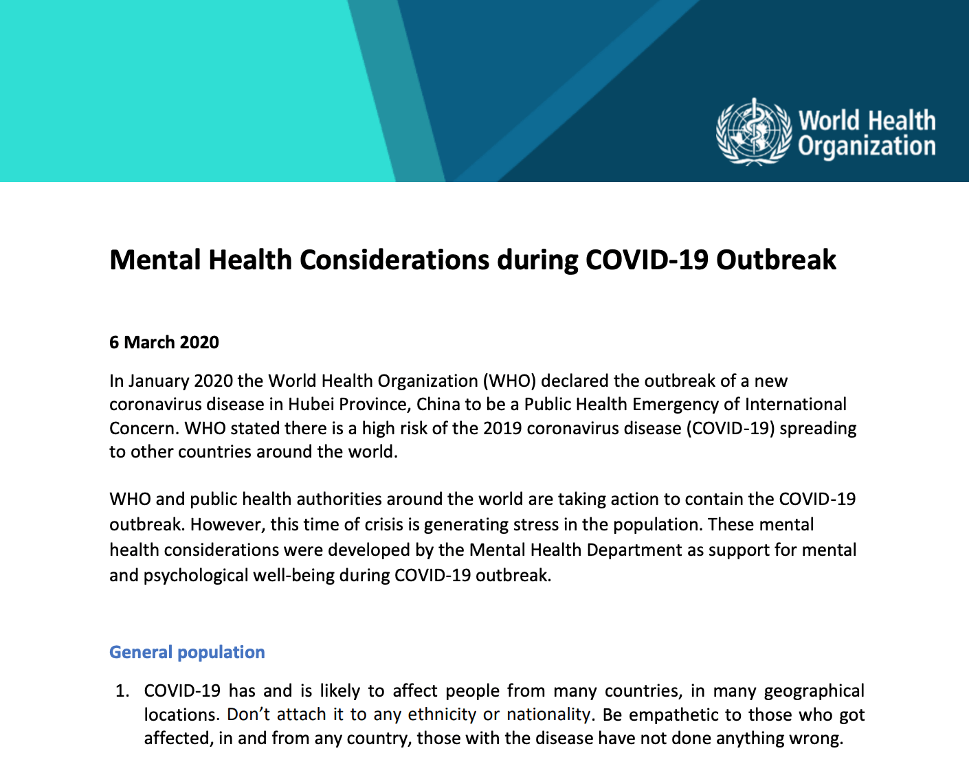 WHO - Mental health considerations