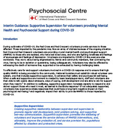 Supportive Supervision for MHPSS Volunteers Interim Guidance